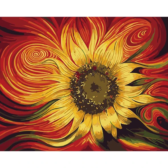 Diy Painting By Numbers Sunflower 16 Quot X20 Quot 40x50cm In 2020 Diy Painting Painting Cool