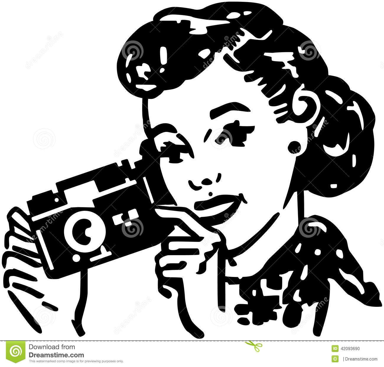 Woman With Camera Photo About Beauty Forties Pretty Lady