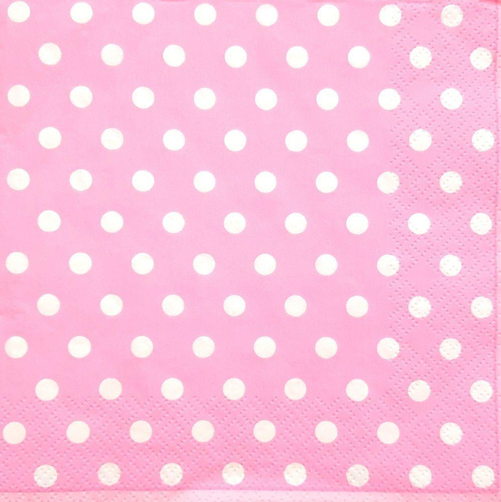 4 Lunch Paper Napkins  Decoupage Craft Vintage Napkin Light Pink Dots
