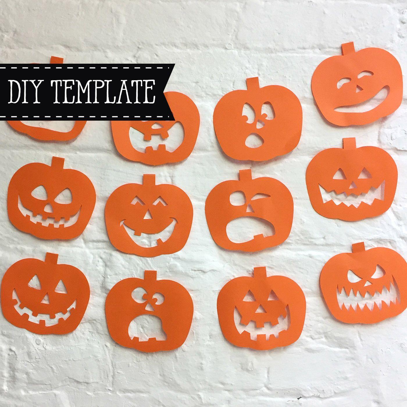 Pumpkin Bunting Papercut Template Halloween Arts And Crafts