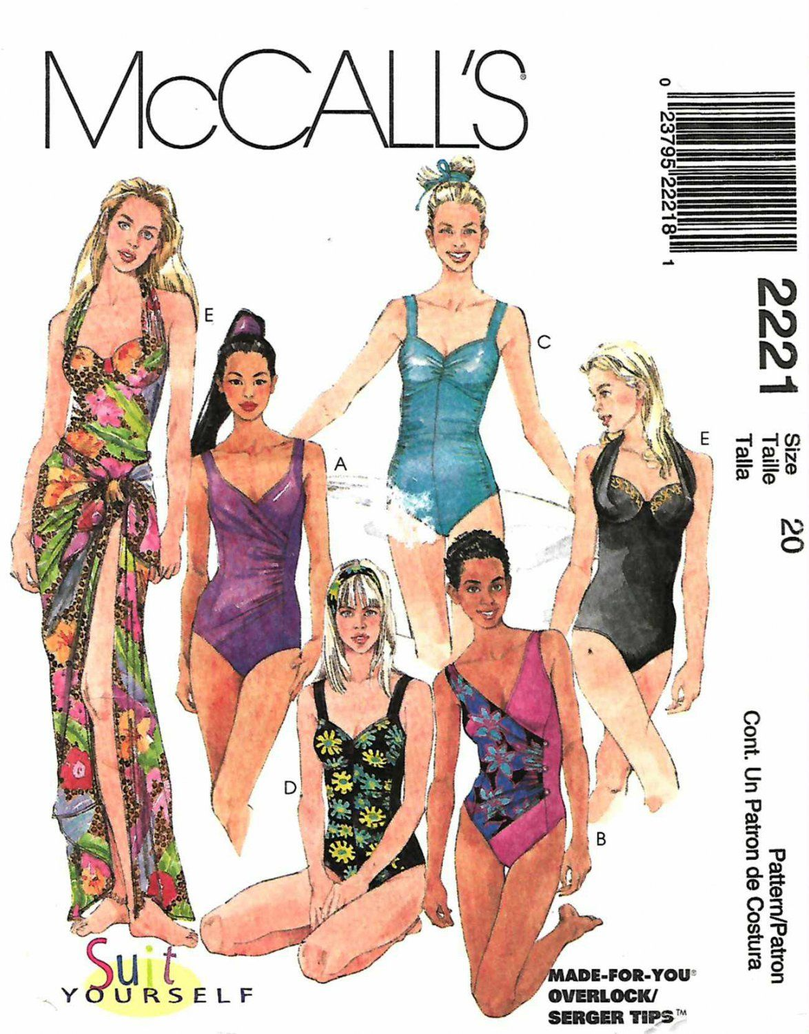 McCall\'s Sewing Pattern 2221 M2221 Missses Size 20 Swimsuits Bathing ...