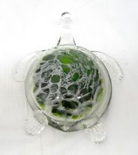 New Hand Blown Glass Kelp Green and White Sea Turtle Figurine