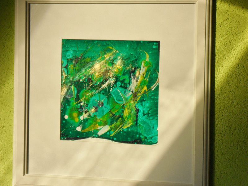 abstraktes Bild, grün, gold, Acryl, gerahmtes Bild