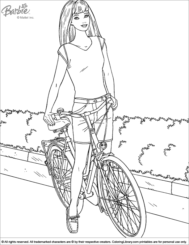 barbie with her bike coloring page