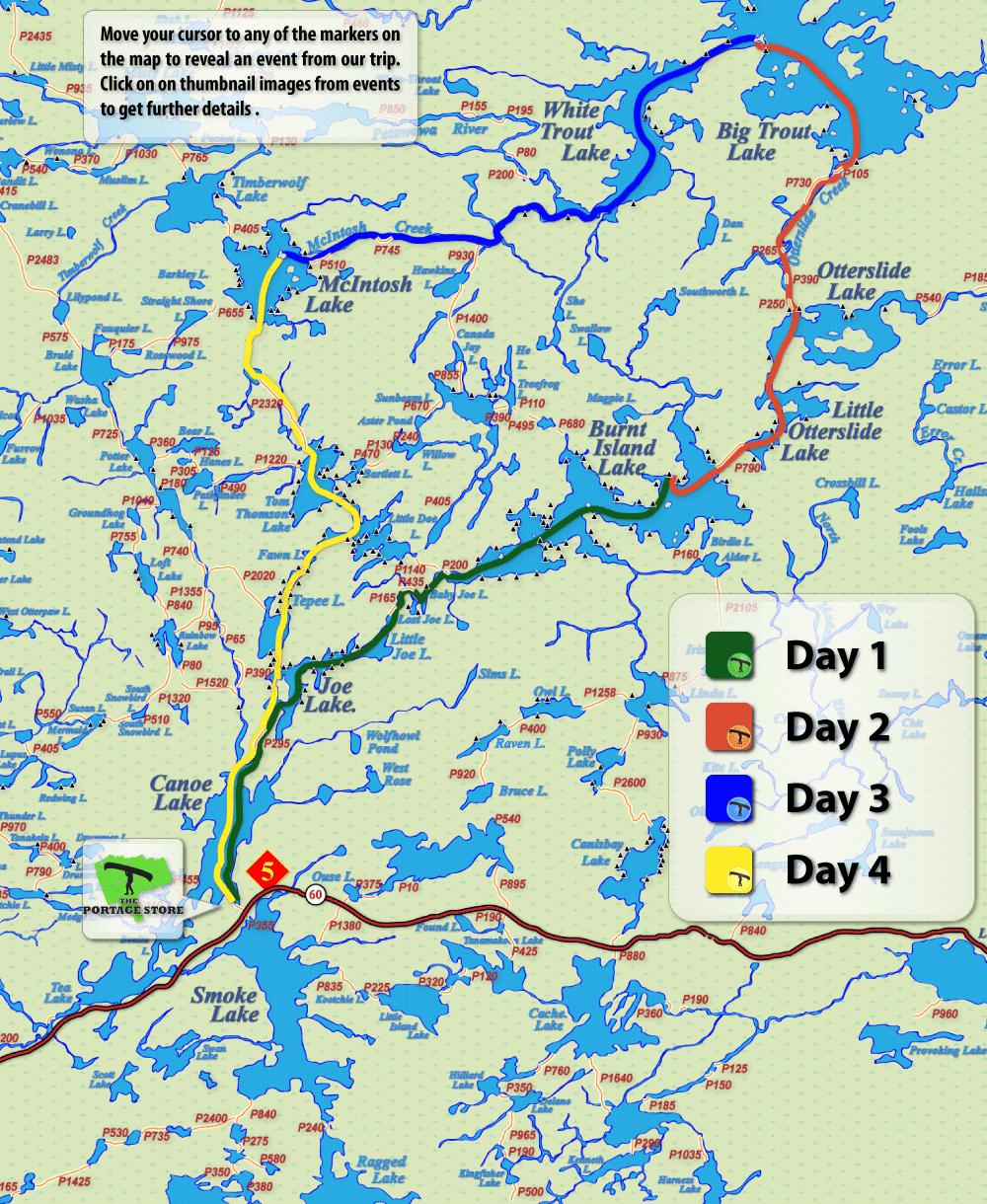 Algonquin Park Big Trout Loop Canoe Route Map Canoe Trip
