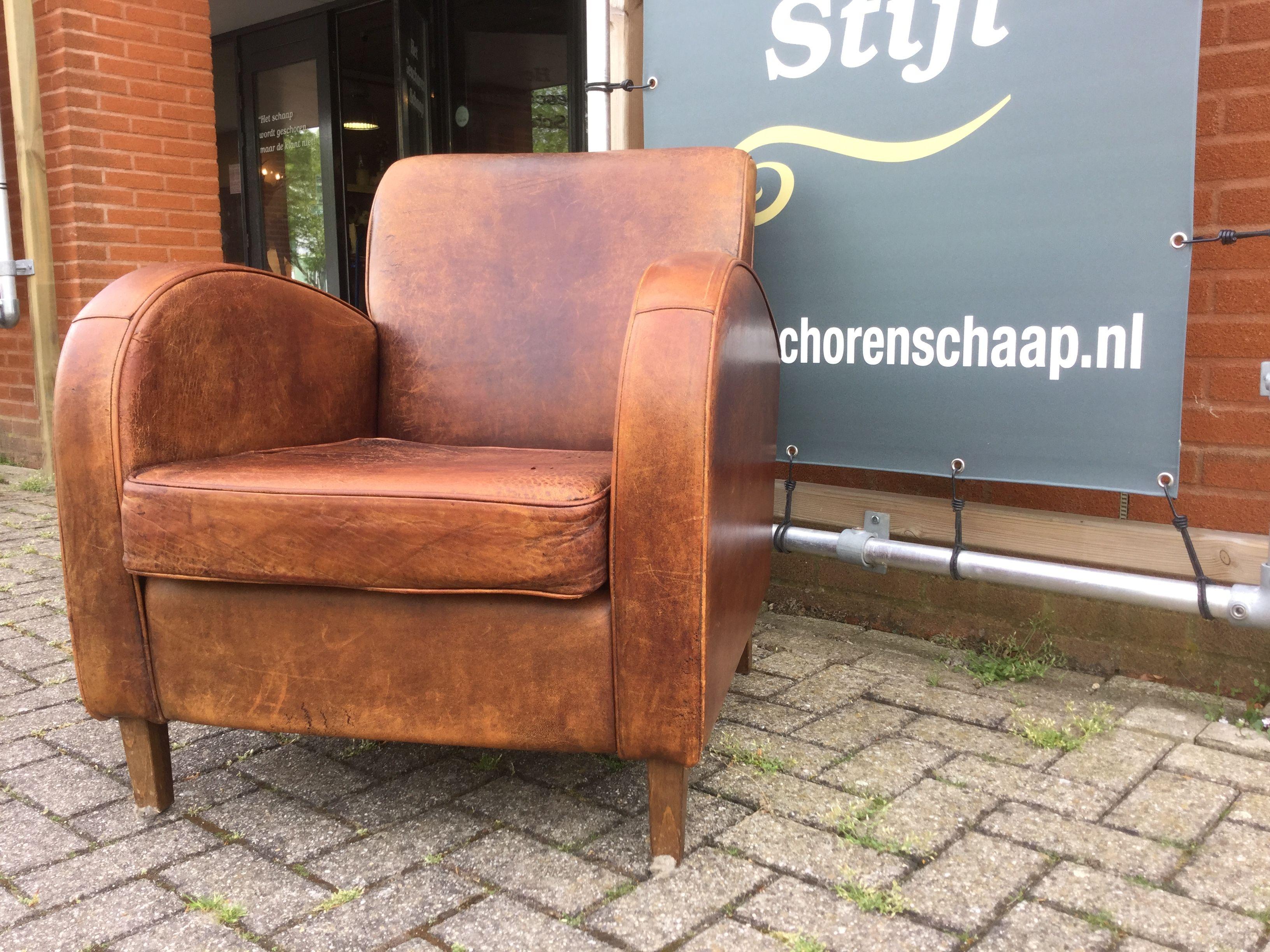 Kings Design Schapenleren Bank.Vintage Schapenleren Wagenwiel Fauteuil King S Design Cognac Kleur