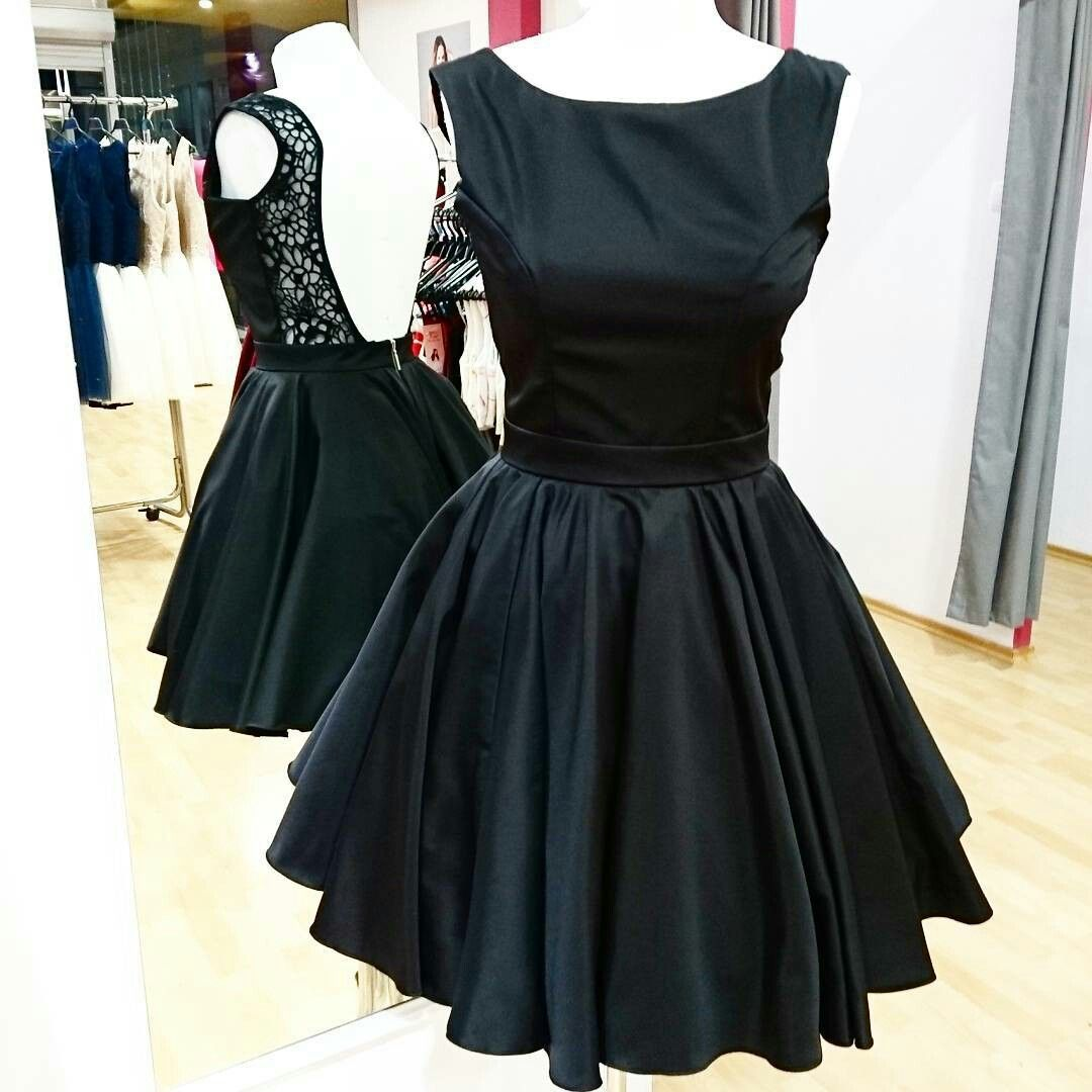 Backless little black dress short satin party