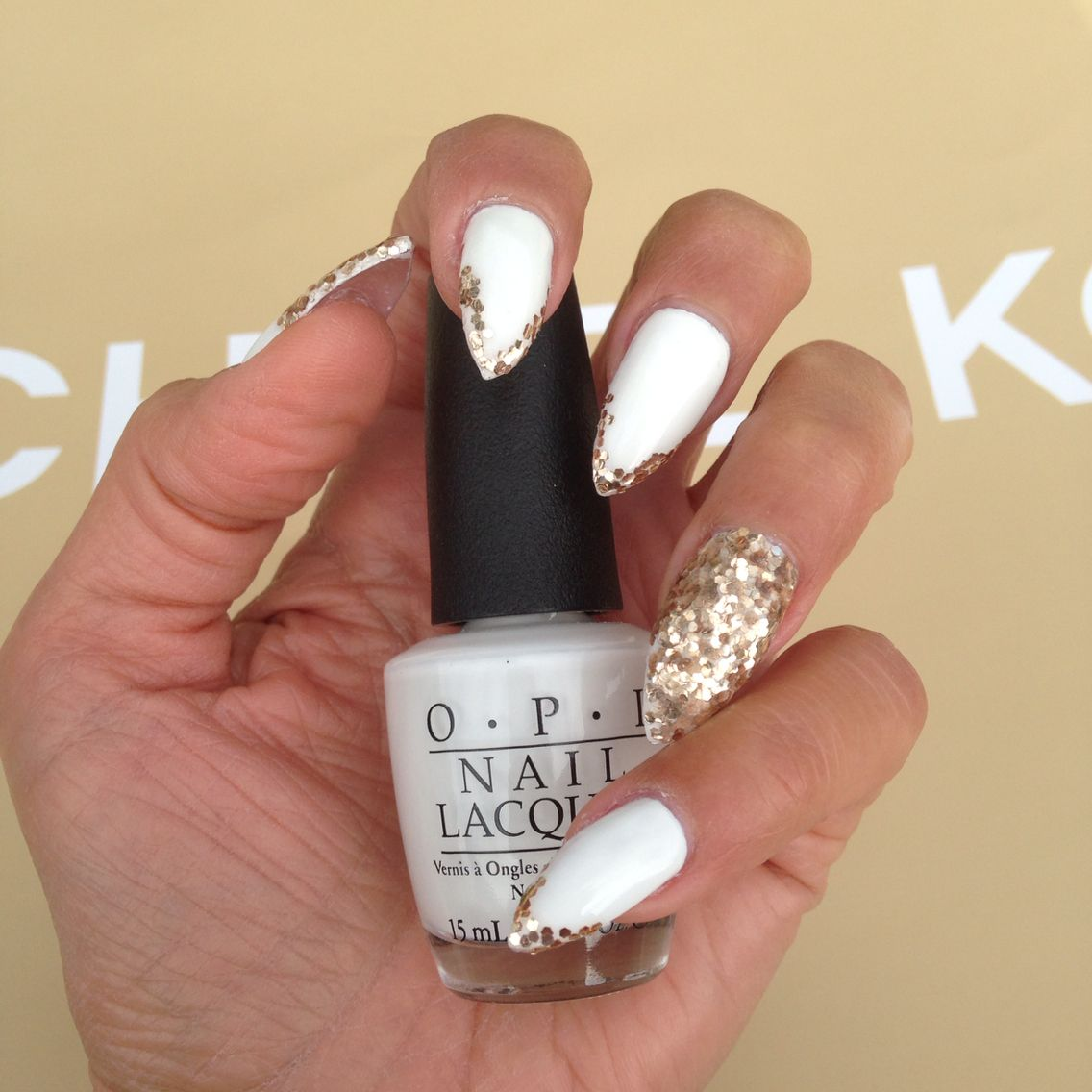 Beautiful pointy nails , acrylic top gel . White opi polish with ...