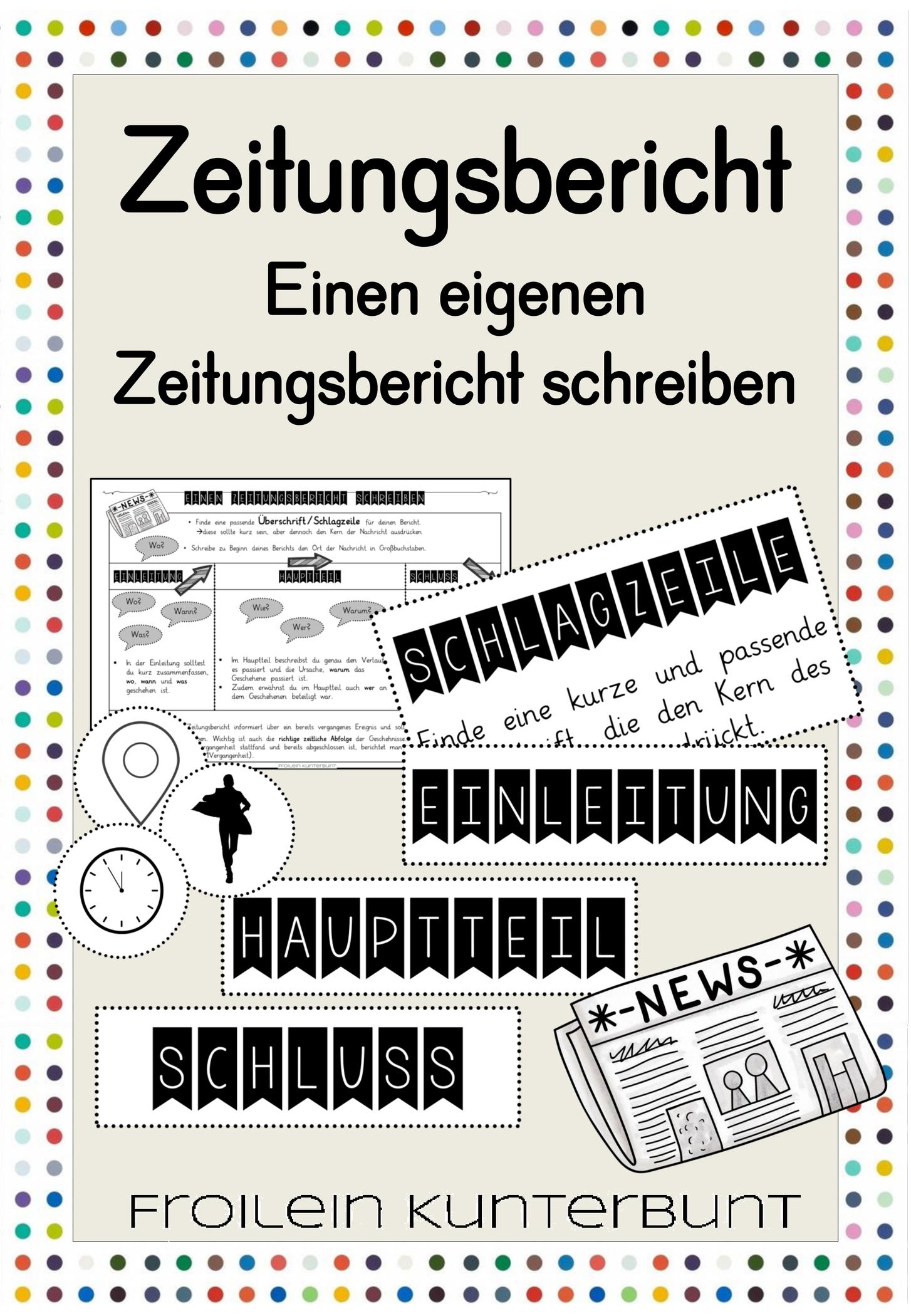 Zeitungsbericht Schreiben Unterrichtsmaterial Im Fach Deutsch Zeitungsbericht Zeitung Unterrichten