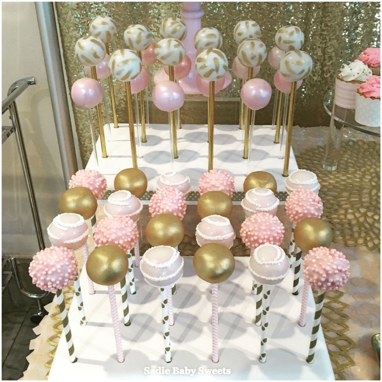 Pretty Pink Gold And White Cake Pops For A Wedding