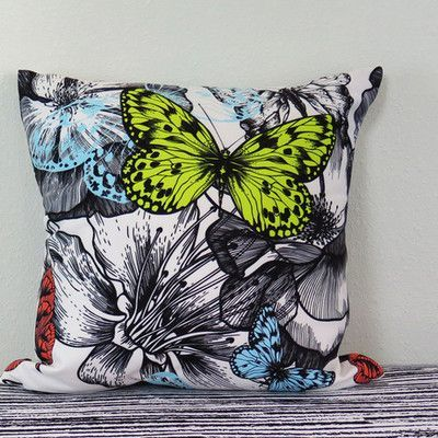 """Arthouse Innovations Blooming Roses and Flying Butterflies Throw Pillow Size: 18"""" H x 18"""" W x 4"""" D"""