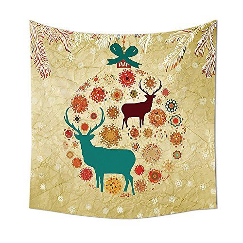 Christmas Decorations Tapestry Wall Hanging Reindeer and Snowflakes ...