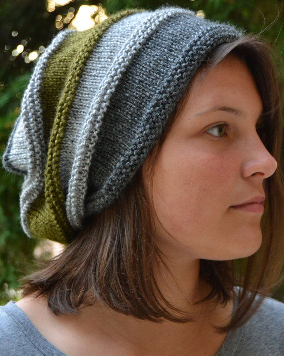 Knit Slouch Beanie CANYON Hand Knit in Striped Gray by Gone2Pieces