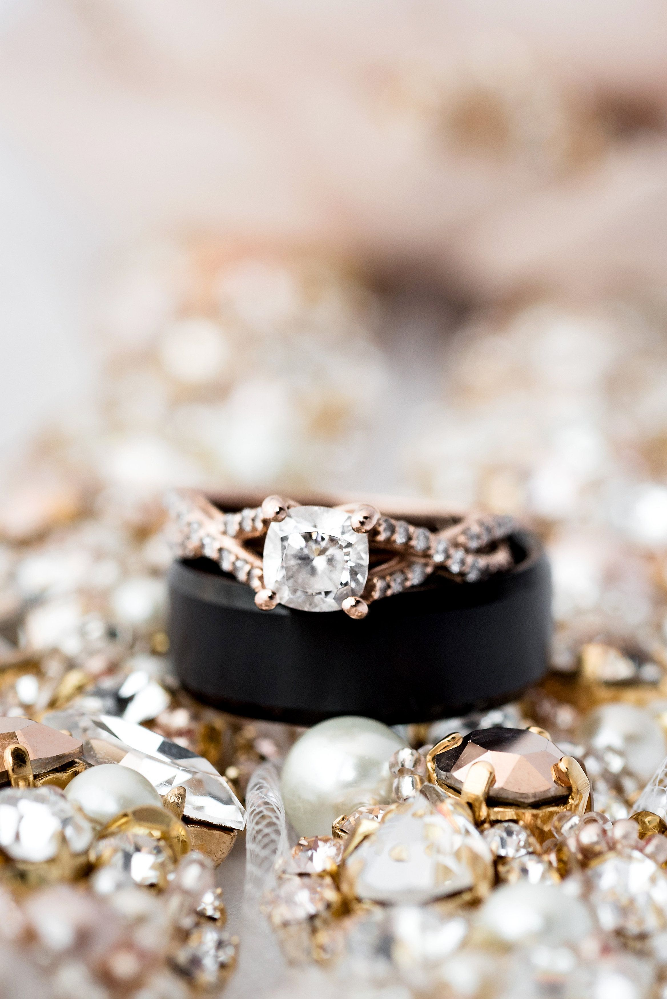 Diamond with rose gold weaving... View the full wedding here: http://thedailywedding.com/2016/05/05/classic-church-wedding-kacey-ethan/