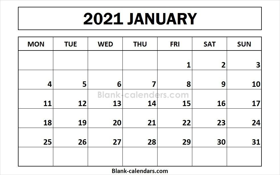 Printable January 2021 Calendar Monday Start Calendar Template 2021 Calendar Calendar 2020