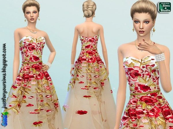 Just For Your Sims: Floral Embroidered Gown • Sims 4