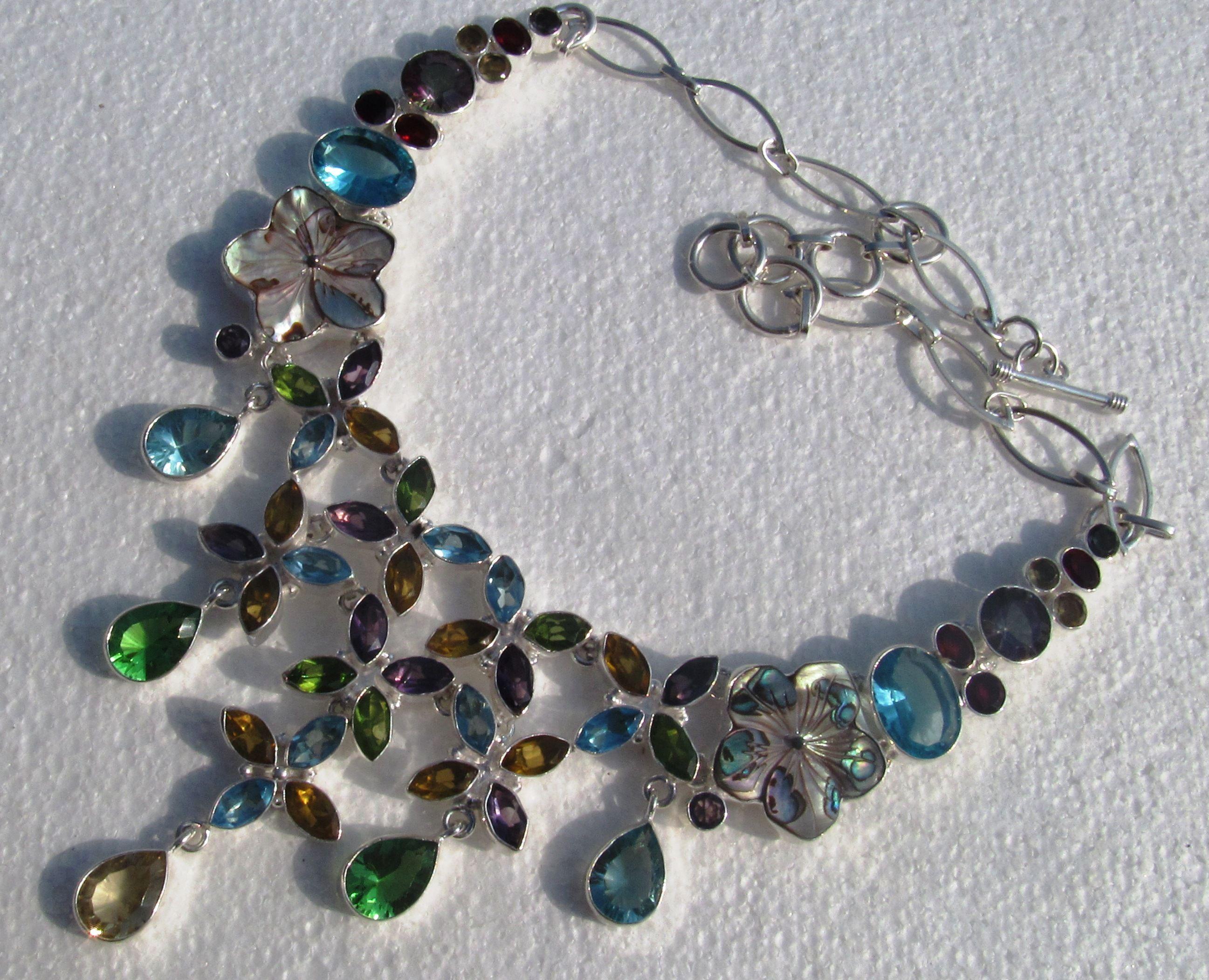 .925 multi gemstone necklace amethyst,peridot,aquamarine,garnet hand made jewelry