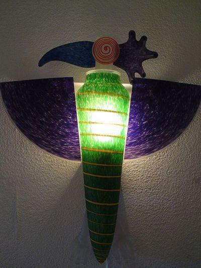 Papageienlampe von Borowski Glaskunst