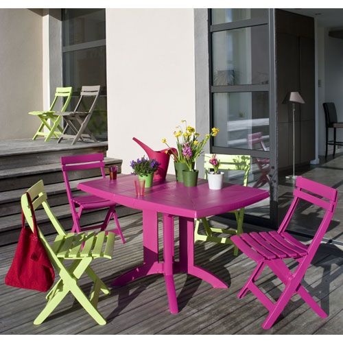 salon de jardin table vega fuchsia 4 chaises miami pliantes fuchsia et vert anis terrasse. Black Bedroom Furniture Sets. Home Design Ideas