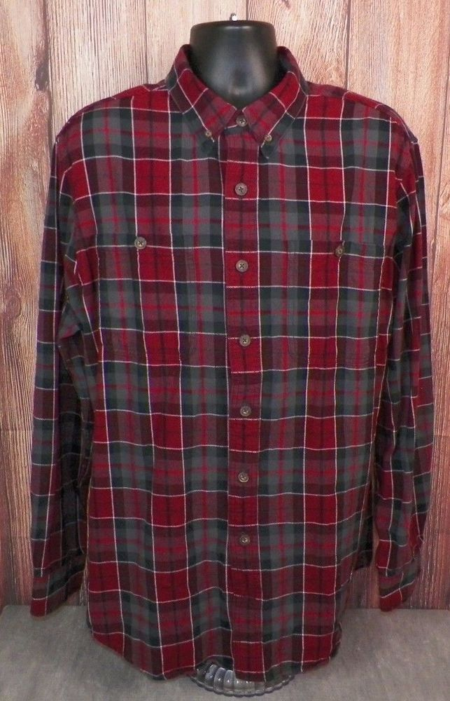 28aa4eb22bf63 Duluth Trading Co Mens Long Sleeve Red Plaid Flannel Work Shirt XL ...