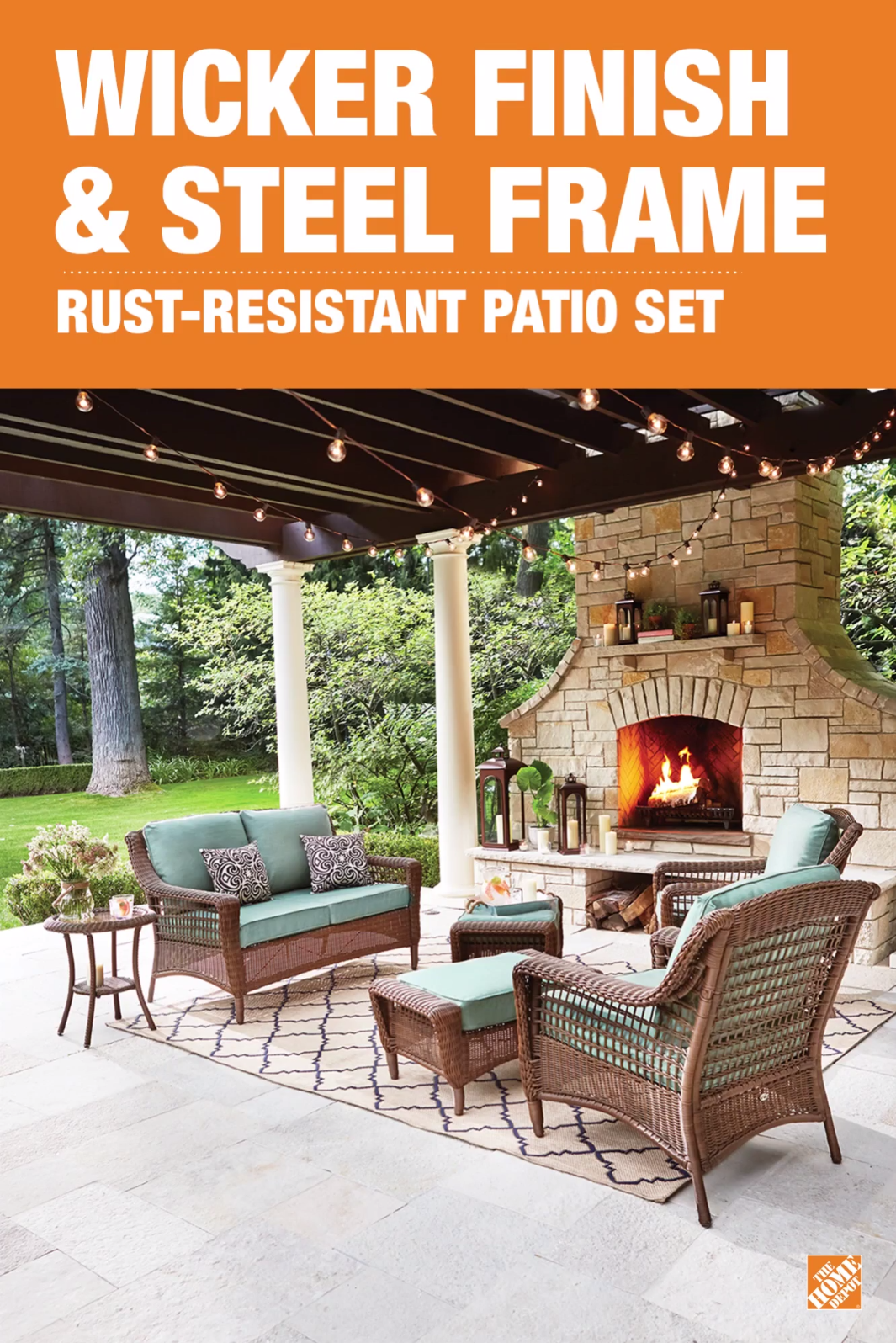 Spring Haven Brown All Weather Wicker Patio Sofa Under The Table Collection Set Creates Perfect