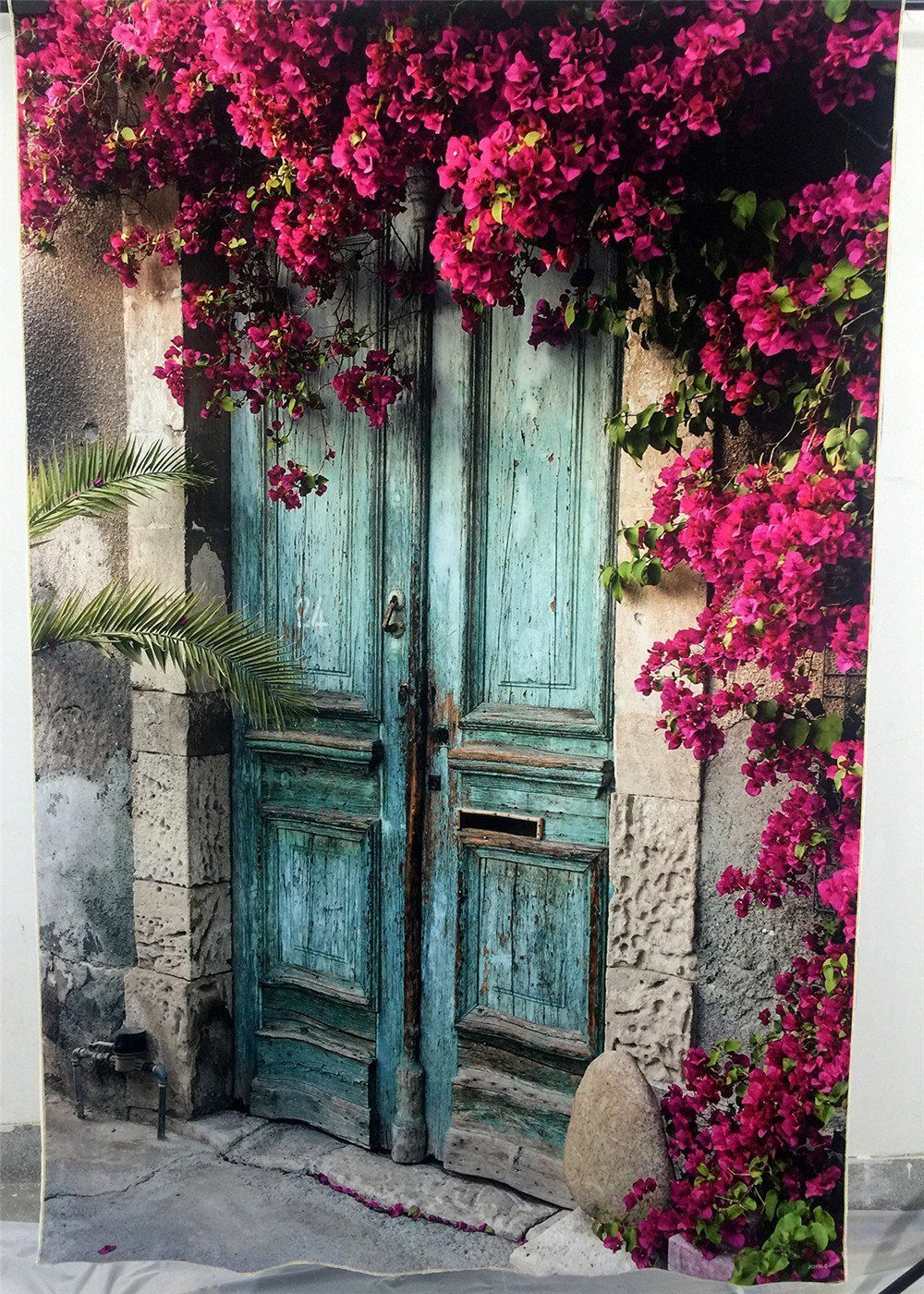 SUSU 5x7ft Vintage Blue Wood Door Background