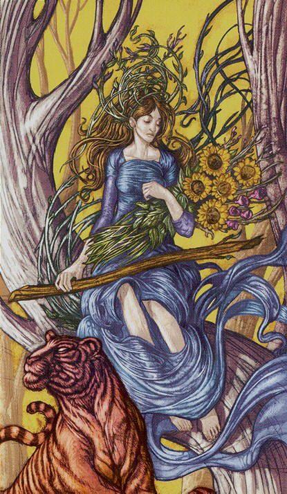 Queen of Wands - Universal Fantasy Tarot