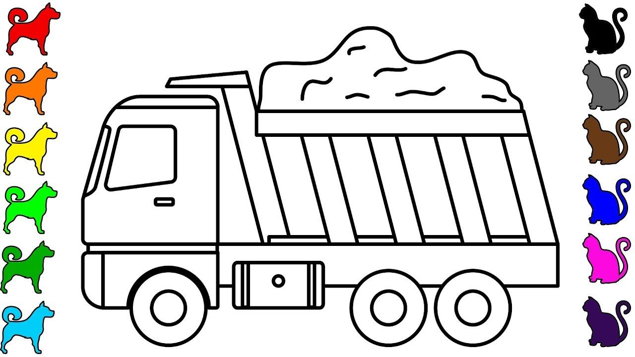Construction Vehicles Dump Truck Coloring Pages Colouring Book