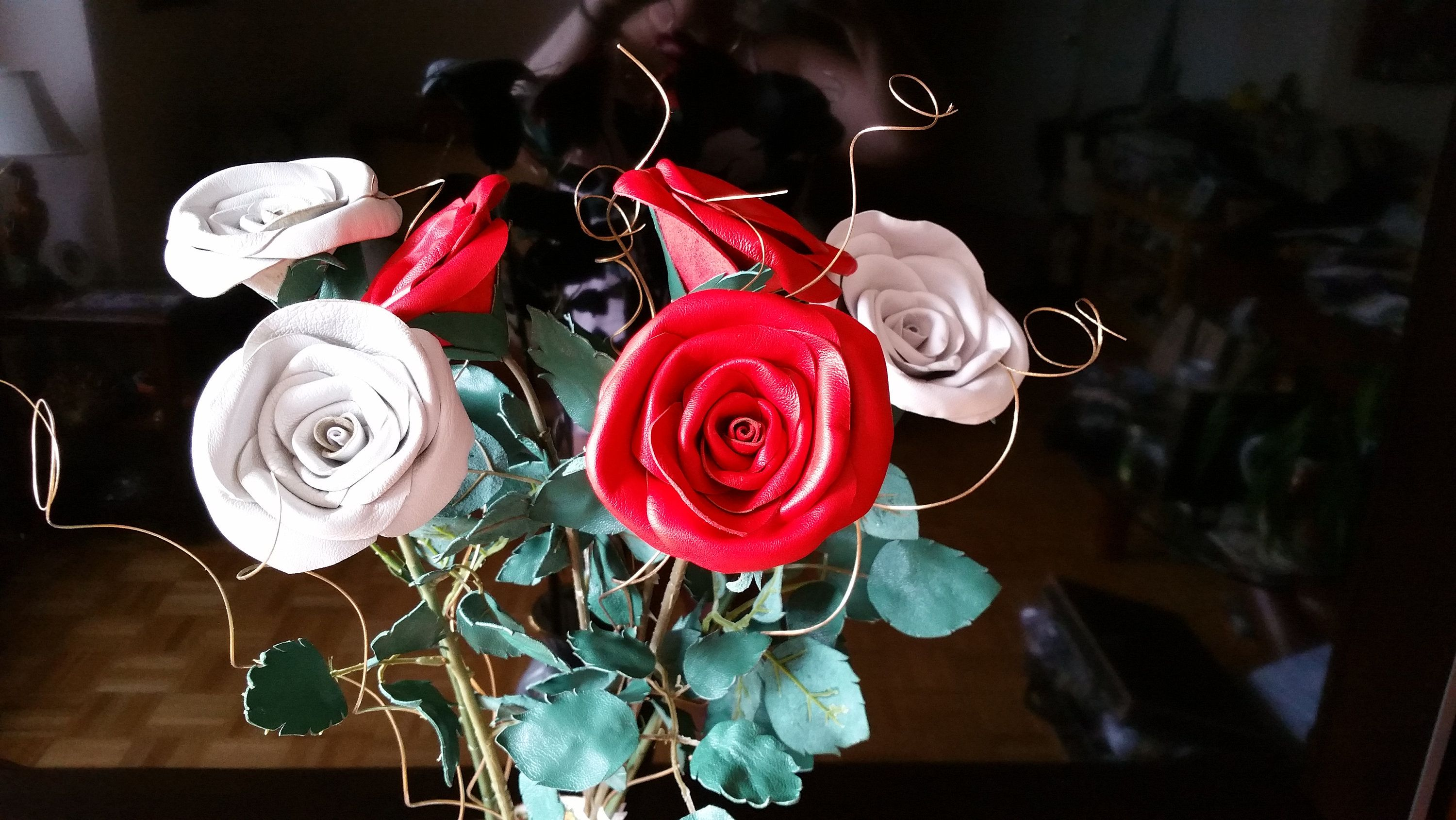 Leather anniversary for her,Leather rose white flower