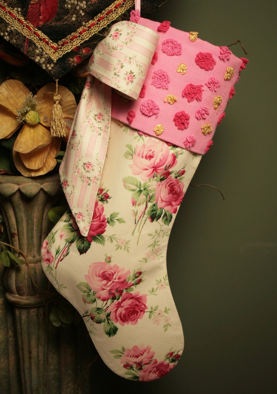 Cottage Pink Roses Stocking with Vintage Chenille Cuff and Big Bow. $74.50, via Etsy.
