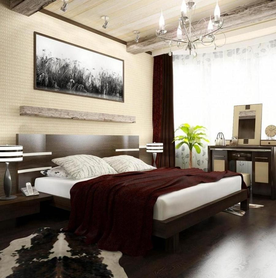 Cozy Wooden Flooring Bedroom Design With Fancy Chandelier In Wooden Ceiling  As Well Brown White Rug On Floor Plus White Bedding Set And Maroon Curtain  Glass ...