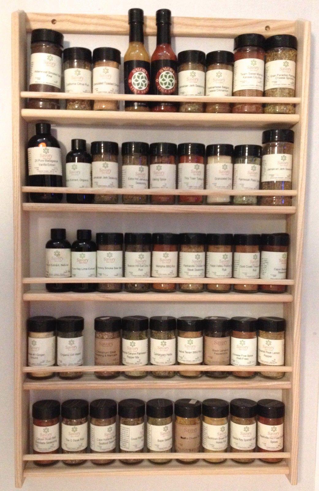 Solid Oak 5 Shelf Wood Spice Rack 32 75 H X 20 W Wall Mount Wood