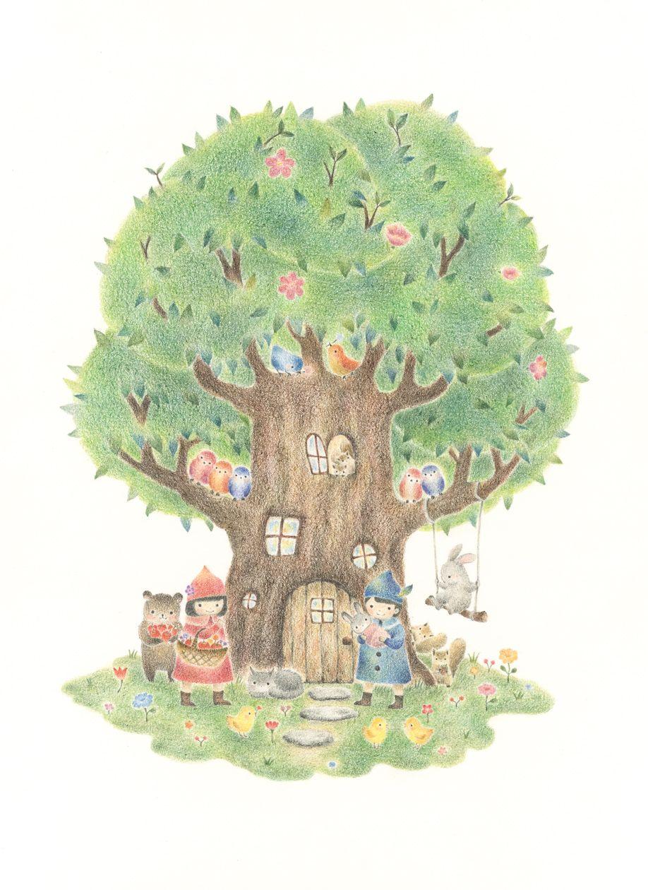 Children And Animals Living In Big Tree Home Rili Picture Book Illustration Design 子どもたちと動物たちの大きな木の家 リリ 絵本 イラスト デザイン 小人 イラスト キュートなイラスト 木イラスト