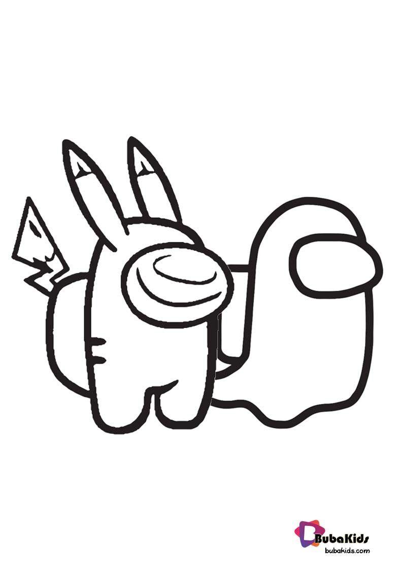 Amongchu Funny Among Us Pikachu Coloring Page Pikachu Coloring Page Coloring Pages Cartoon Coloring Pages