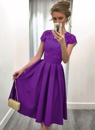 Polyester Solide kurze Ärmel Knielang Elegant Kleider | Elegante ...