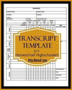 free transcript template for homeschool high schoolers