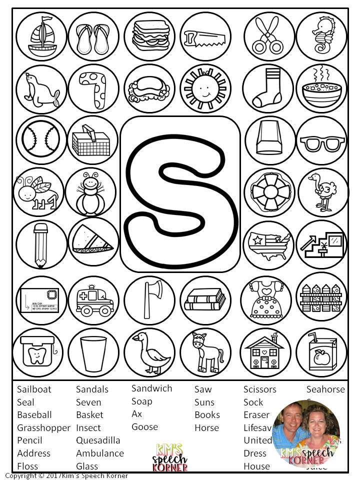 Articulation Homework Sheets