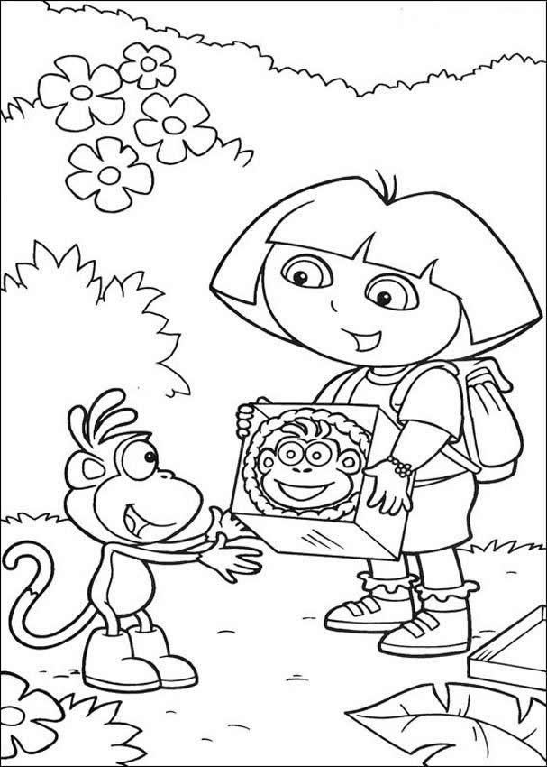 Boots Birthday Cake Coloring Page From Dora The Explorer Tv Series More Dora The Explorer Coloring Sheets On Bear Coloring Pages Coloring Pages Dora Coloring