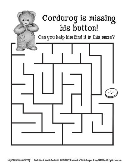 Corduroy printables Keep your little one 39 s entertained