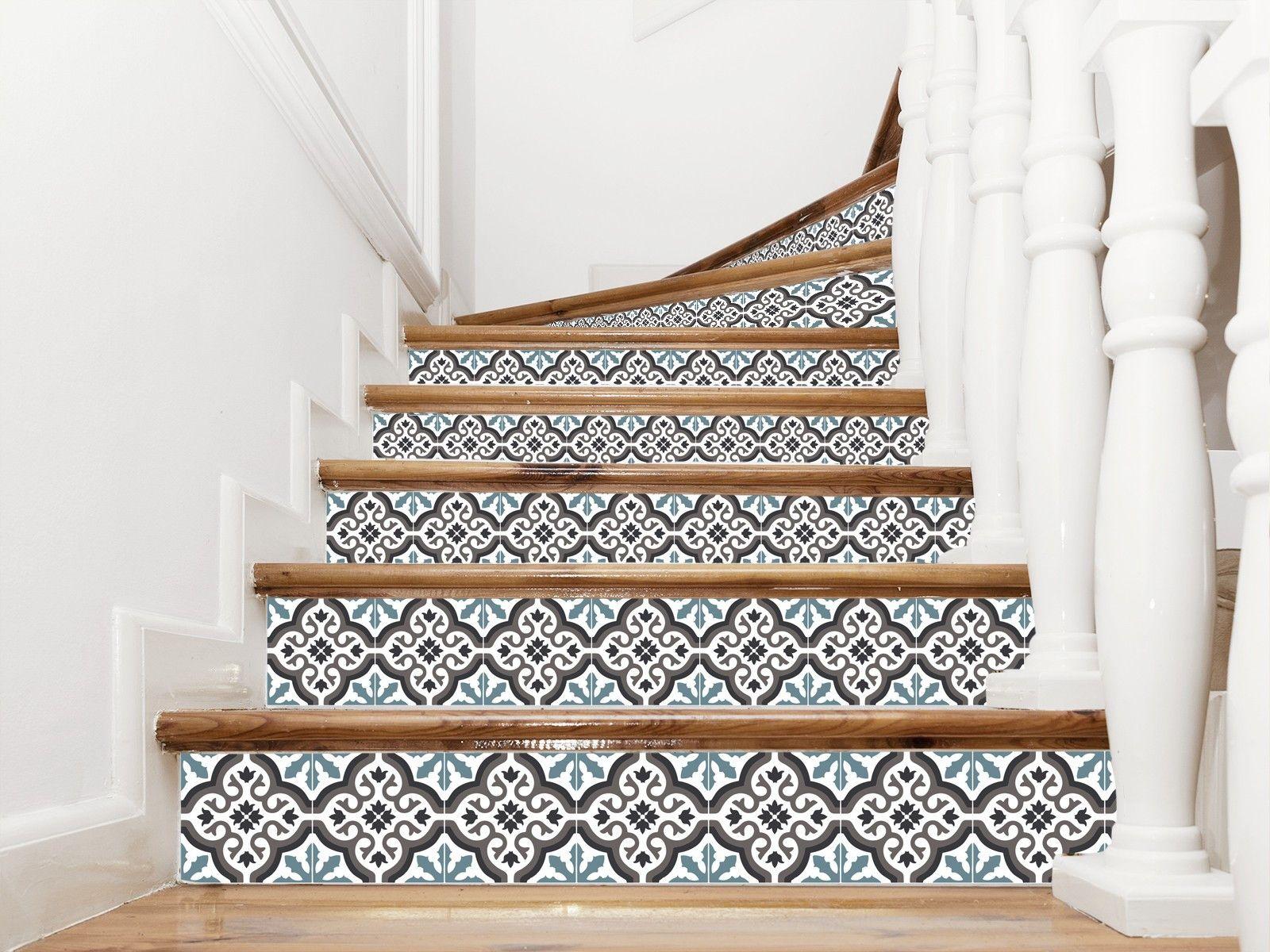 Adhesif Carreaux Ciment Pour Contremarches Modele Trianon Bleu Escalier Decoration Escalier Maison Bord De Mer Decoration