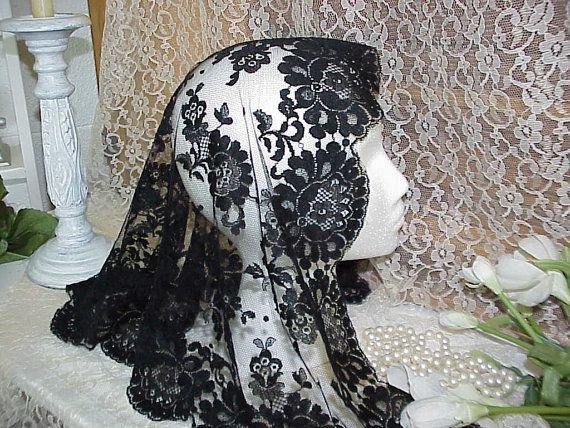 Vintage Black Lace Mantilla Veil Lace Mantilla Lace Mantilla Veil Mantillas