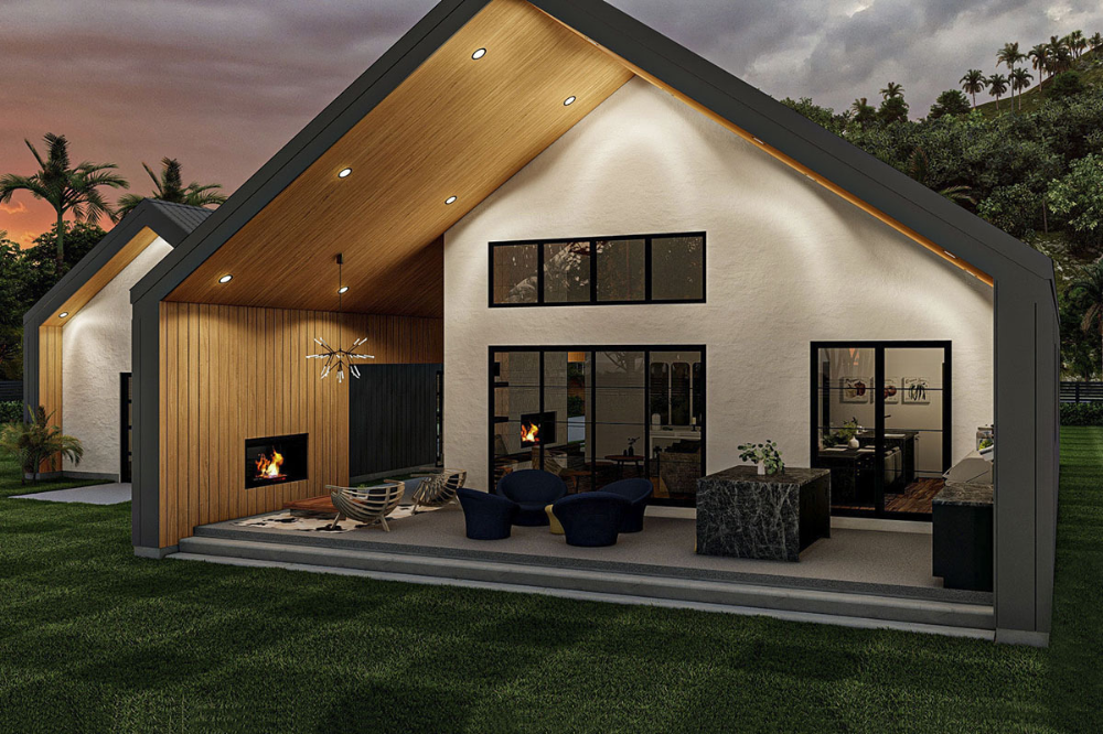 Ultra modern House Plan with Pull through 2 car Garage