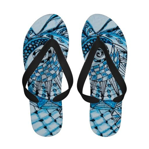 Tangled in Blue Abstract Zentangle Sandals