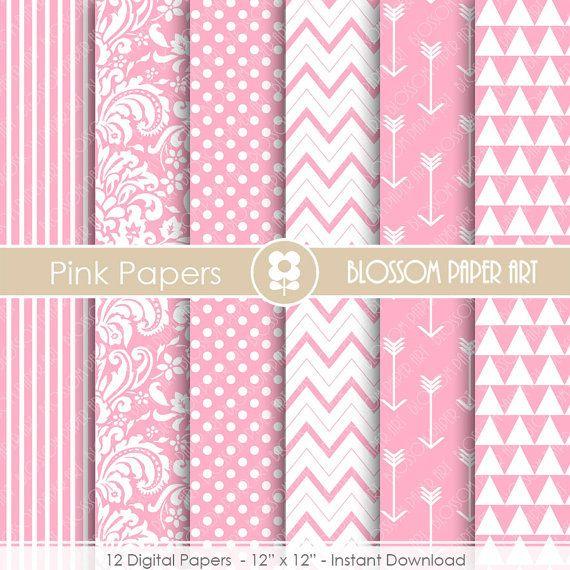 Digital Paper Baby Girl Pink Digital Paper Pack Pink