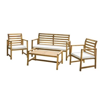 Best Selling Home Decor Emilano Outdoor 4-Piece Acacia Wood Chat Set with…