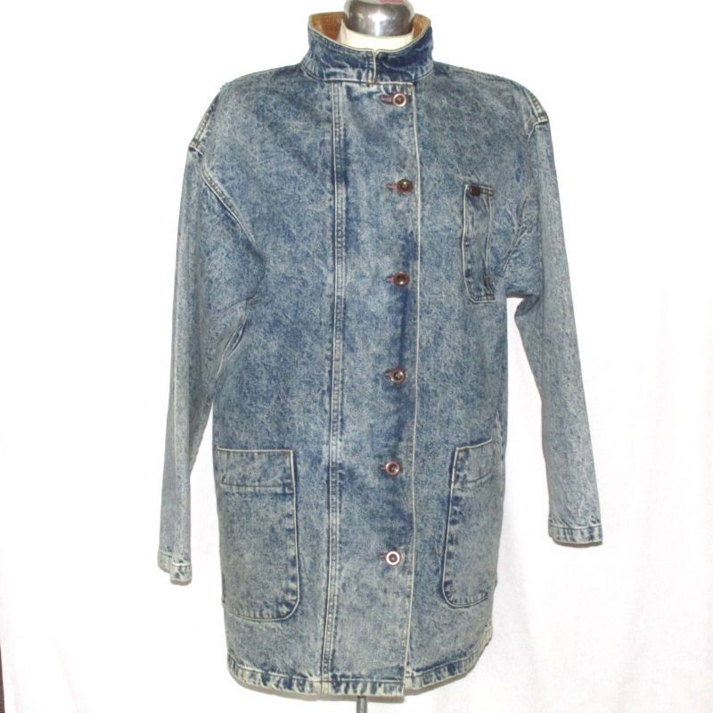 Vintage Lee Denim Jean Jacket Coat Acid Wash Size Large Mens Womens Unisex #Lee #JeanCoat