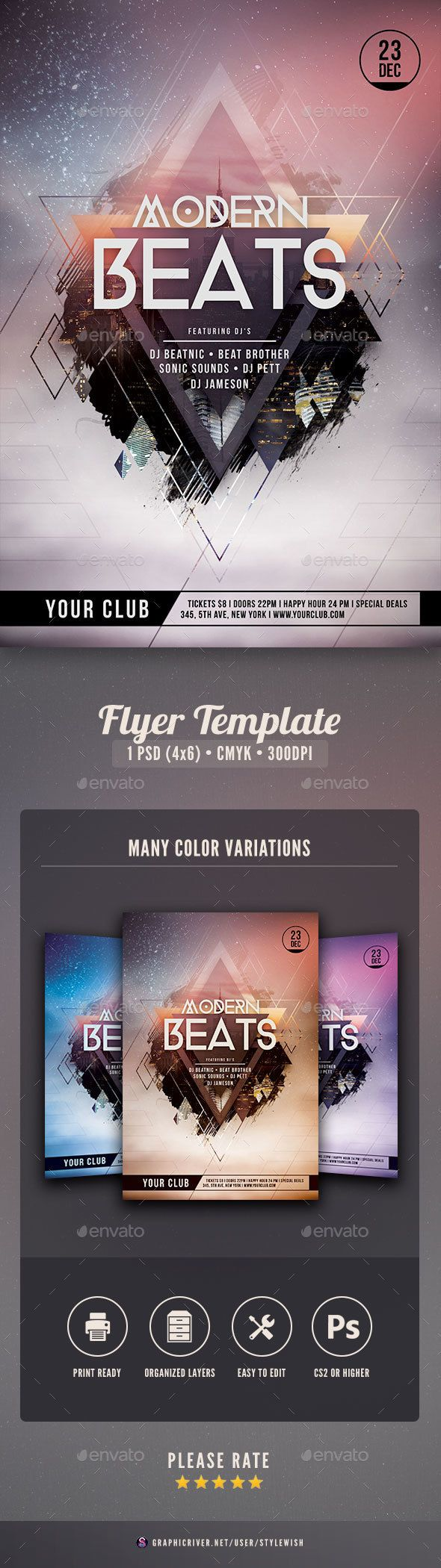 Modern Beats Flyer | Flyer template, Template and Flyer design templates