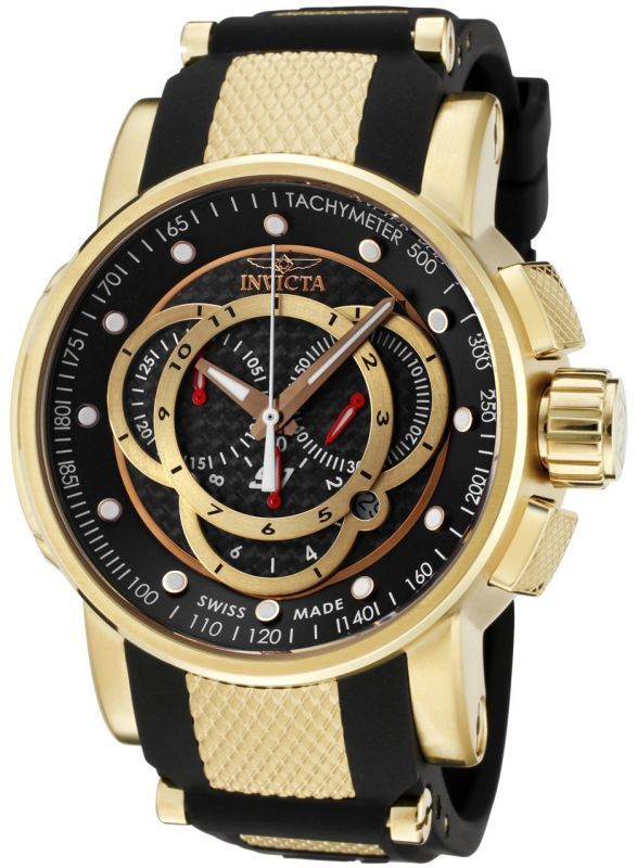 Invicta Men s 0896 S1 Chronograph Black Dial Black Polyurethane Watch f4684fd8569