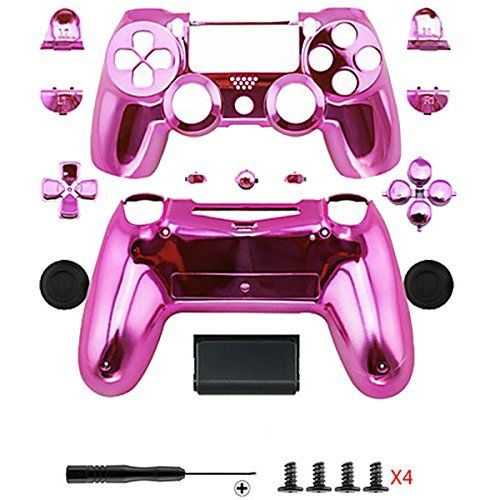 d851334b Gotor Electroplating Pink Replacement Parts Full PS4 Controller Housing  Shell Protective Case Button Kit for PlayStation4 DUALSHOCK 4 Controller  *** For ...