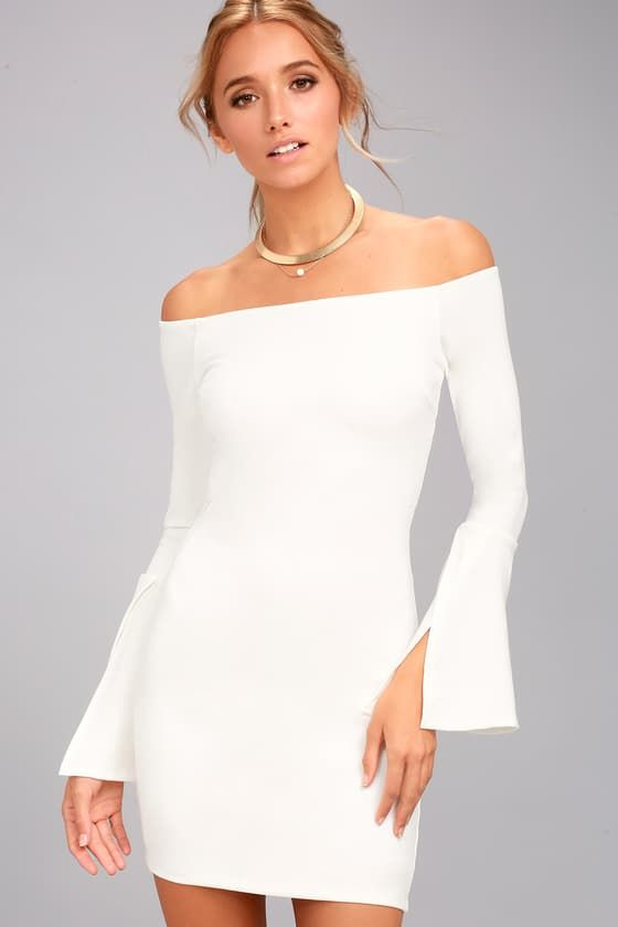 e27fb54d2f6 Show off your style with the Marseille White Off-the-Shoulder Long Sleeve Bodycon  Dress! Stretchy knit shapes a darted